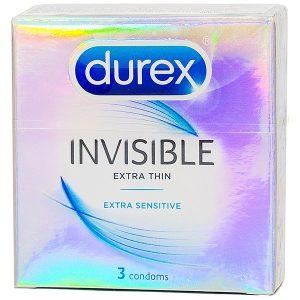 Bao Cao Su Durex Invisible Extra Thin Hộp 3 Cái