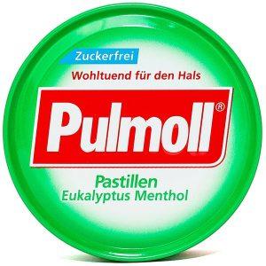 Kẹo Ngậm Ho Không Đường Pulmoll Pastillen  Eukalyptus Menthol Vị Bạc Hà 50G