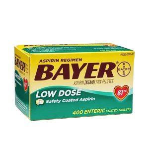 Thuốc giảm đau tim Bayer Low Dose Aspirin 81mg của Mỹ 400v