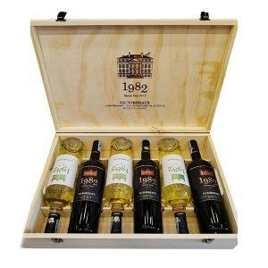 Set 6 chai rượu vang 1982 UG Bordeaux 2018 mix trắng, đỏ